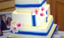 Square blue hawiian wedding cake blue ribbon plumeria Frangipani