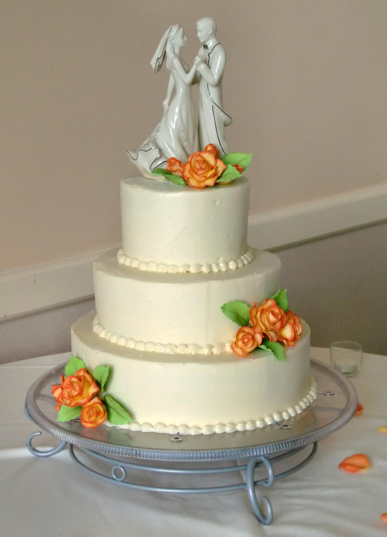 Orange Rose Wedding Cake
