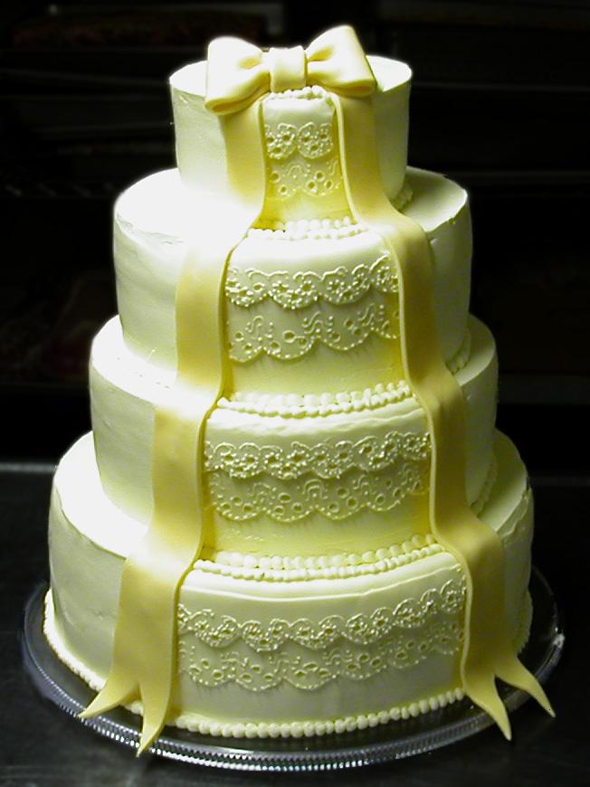 Ribbon and Lace Wedding Cake