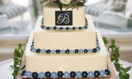 blue Square wedding cake monogram flowers