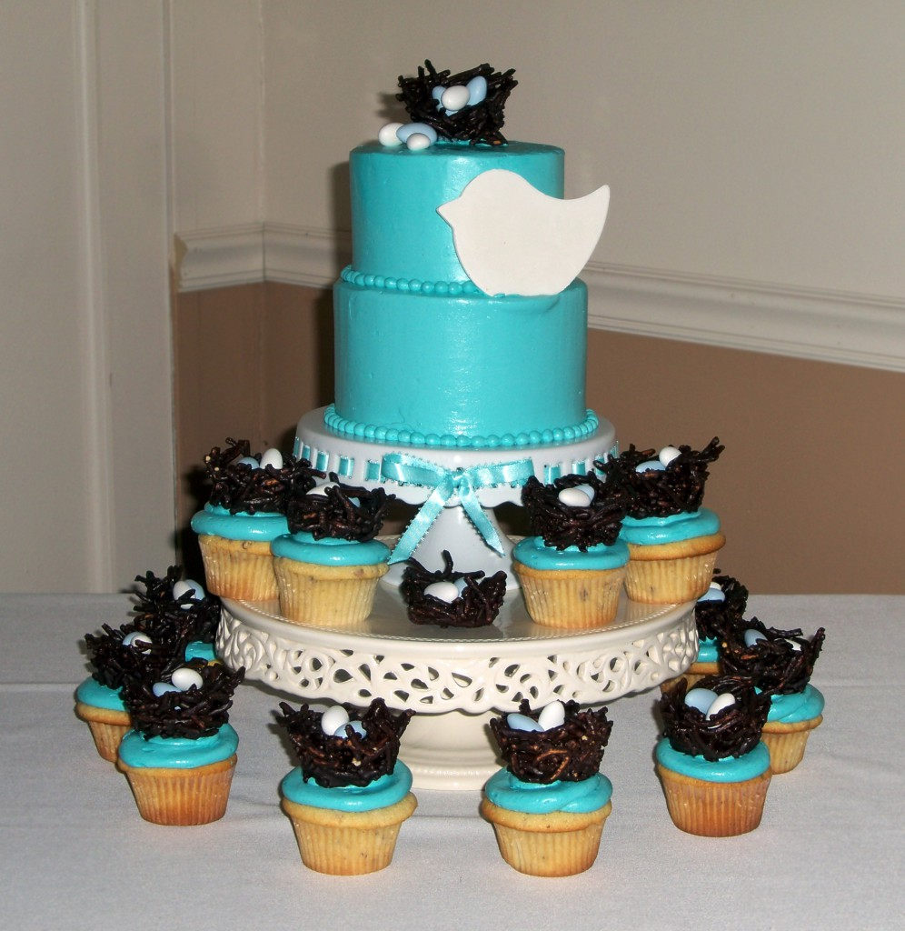 Blue love bird cupcake tree