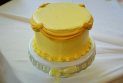 Beauty and the beast belle's gown yellow and gold cake